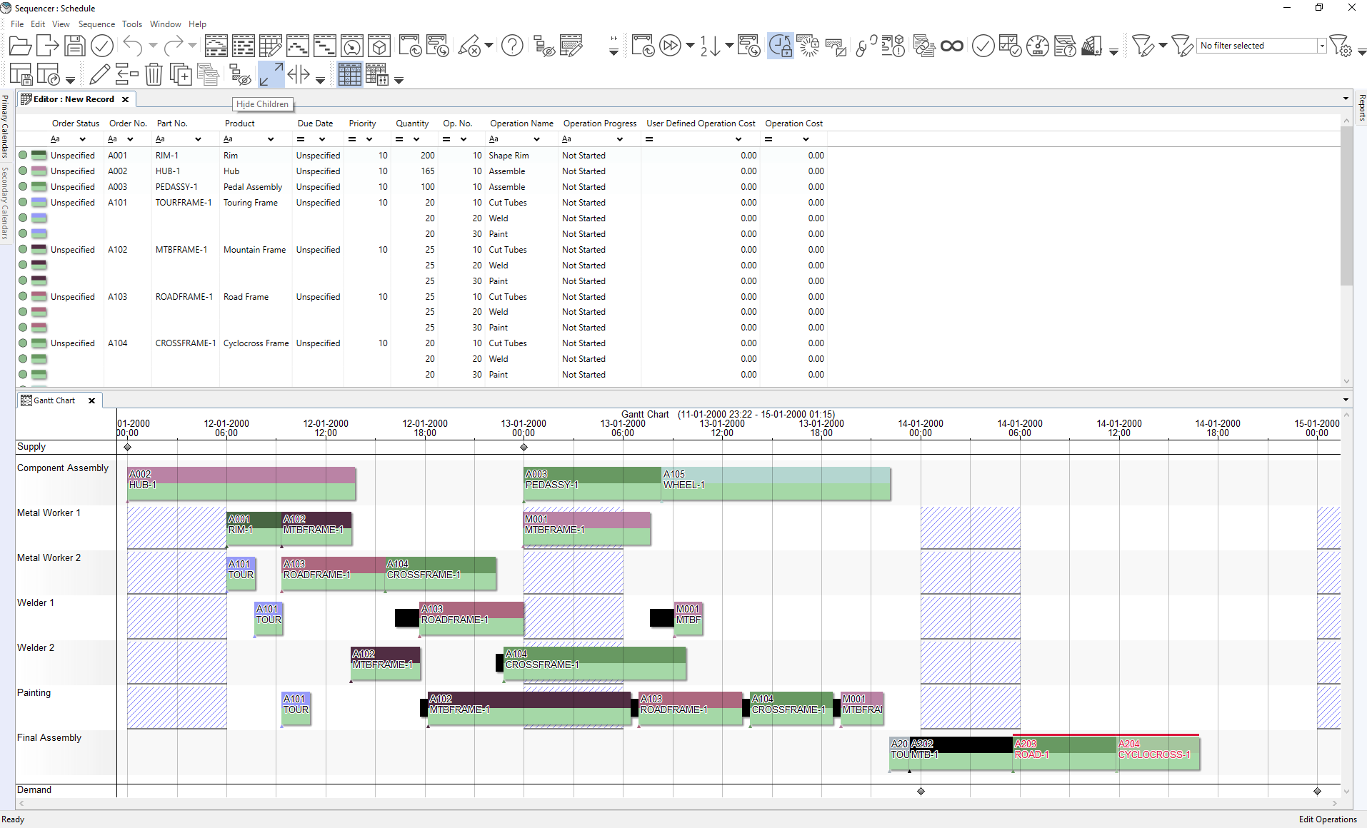 The display shows the Gantt chart and Editor window both open in separate horizontal windows