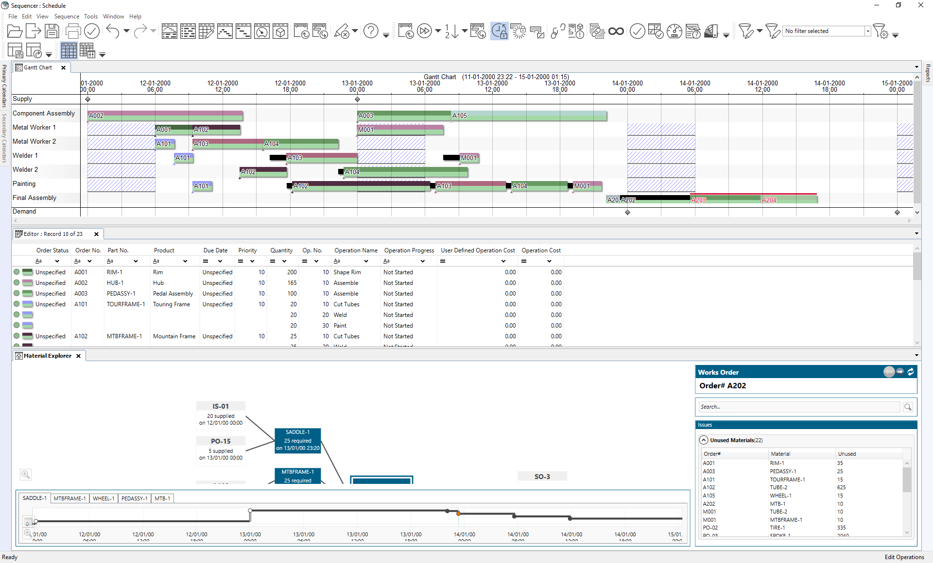 Overview with the Gantt chart, Editor and Material Explorer windows open