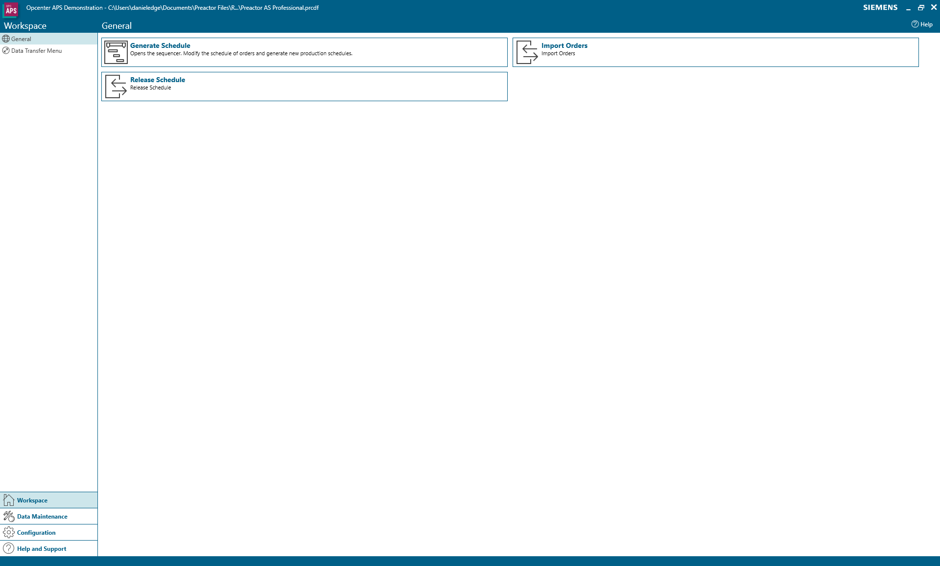 Workspace menu in Opcenter APS Professional
